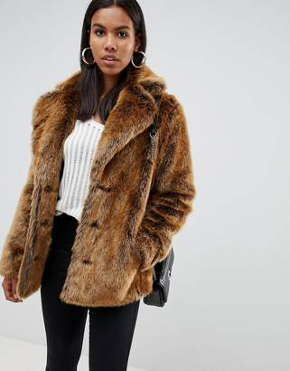 Asos DESIGN faux fur coat with collar detail
