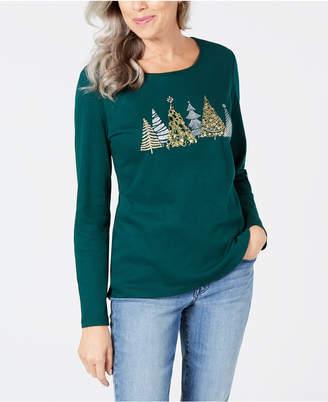 Karen Scott Petite Christmas Tree Printed Top, Created for Macy's