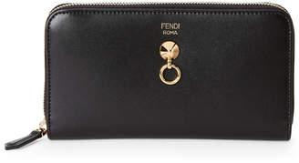 Fendi Leather Dotcom Zip-Around Wallet