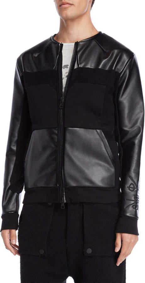 Kolonko Faux Leather & Terry Loop Jacket
