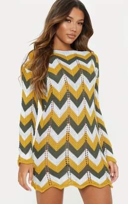 PrettyLittleThing Multi Crochet Long Sleeve Jumper Dress