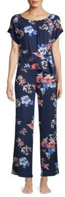 Catherine Malandrino Two-Piece Smocked Floral Pajama Set