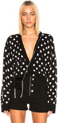 RtA Ella Cardigan in Black & White Dot Knit | FWRD