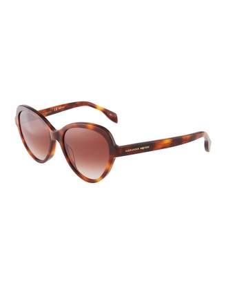 Alexander McQueen Round Acetate Havana Sunglasses