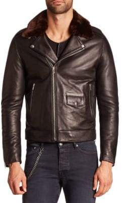 The Kooples Faux Fur Collar Leather Moto Jacket