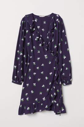 H&M Patterned Wrap-front Dress - Blue