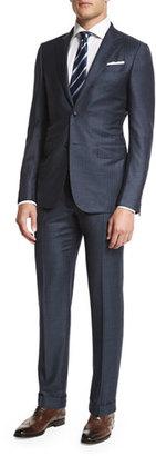 Ermenegildo Zegna Trofeo Tic Stripe Two-Piece Suit, Gray/Blue $3,095 thestylecure.com