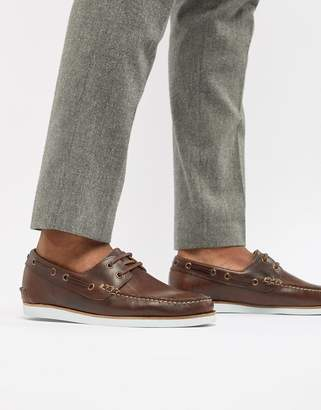 Asos Design Boat Shoes In Brown Leather With White Sole