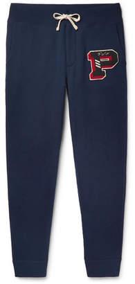 Polo Ralph Lauren Tapered Appliquéd Fleece-Back Cotton-Blend Jersey Sweatpants
