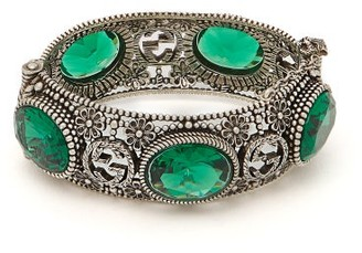 Gucci Gg Sterling Silver And Crystal Bangle - Womens - Green