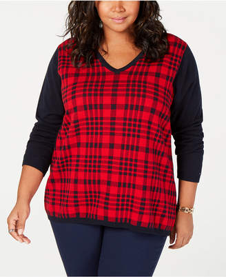 Tommy Hilfiger Plus Size Cotton Plaid Sweater
