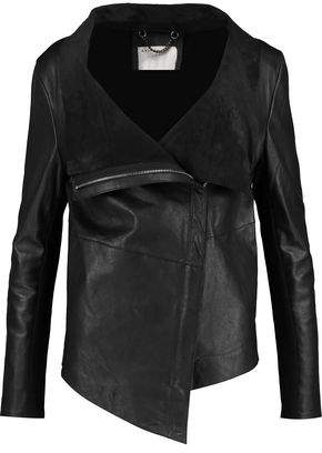 Muu Baa Muubaa Jersey-Paneled Leather Biker Jacket