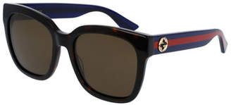 Gucci Oversized Rectangular Sunglasses, Tortoise/Blue/Red