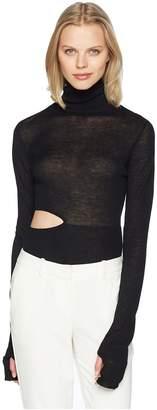 Prabal Gurung Cashmere Ama Bodysuit Long Sleeve Turtleneck Women's Long Sleeve Pullover