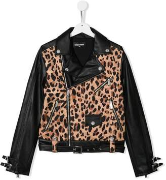 DSQUARED2 TEEN leopard print biker jacket