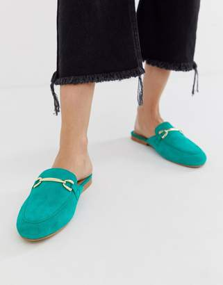 Asos Design DESIGN Moves suede mule loafers in green