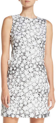 Karl Lagerfeld Paris Sleeveless 3D Floral Sheath Dress