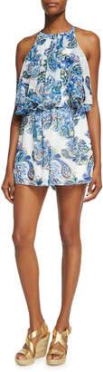 Neiman Marcus Double-Layer Ruffle Short Romper, Blue Pattern $69 thestylecure.com