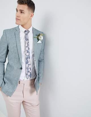Hatch ASOS DESIGN wedding skinny blazer in dark green cross nepp