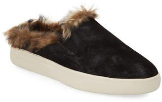 Neiman Marcus Yannez Suede Faux-Fur Mule Sneakers
