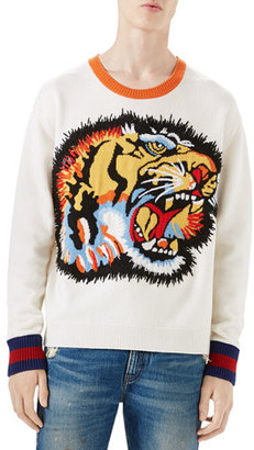 Gucci Oversize Tiger Intarsia Wool Sweater, White $1,380 thestylecure.com