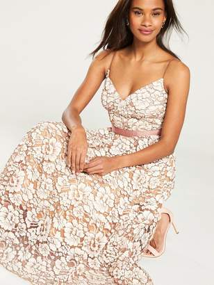 Forever Unique U Collection Floral Lace A-line Midi Dress - Nude/Ivory