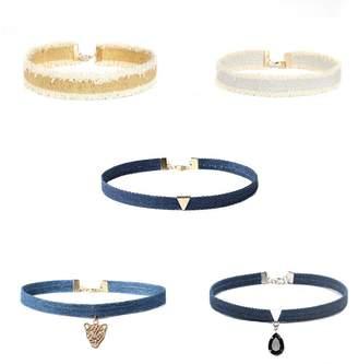 COMVIP Women Denim 5 Pieces Pendent Necklace Choker Set