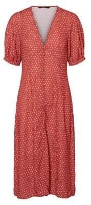 Vero Moda Mineral Polka Dot V-Neck Midi Dress