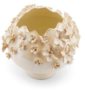 Element Nine Inch Round Cream Sprinkled Flower Vase