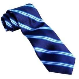 Black & Brown Black Brown Classic Fit Striped Silk Tie