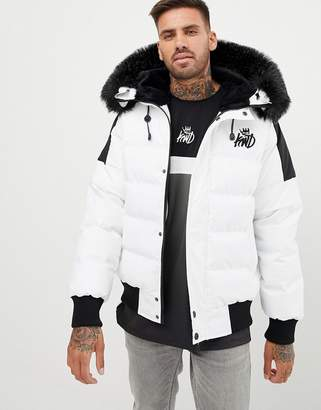 Kings Will Dream puffer bomber jacket In white with detachable faux fur
