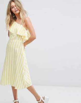 New Look One Shoulder Frill Sleeve Midi Dress