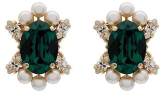 Anton Heunis metallic gold, green and white crystal and pearl earrings
