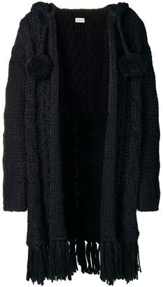 Saint Laurent fringed cable knit cardigan