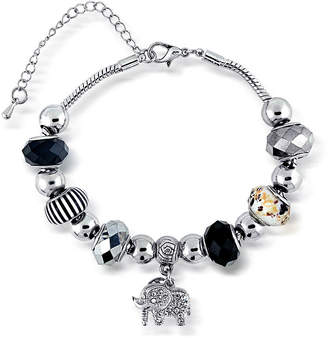 SPARKLE ALLURE Dazzling Designs Elephant and Multicolor Bead Silver-Plated Bracelet