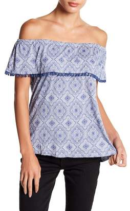Fever Off-the-Shoulder Printed Blouse