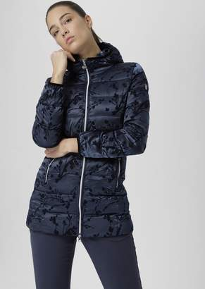 Emporio Armani Windproof Jacket With Fabric Hood And Flock Print