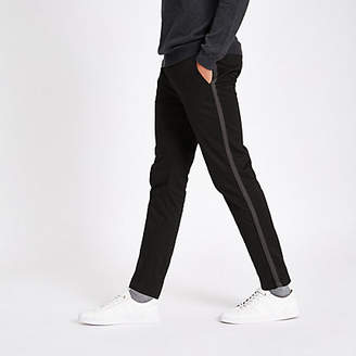 River Island Black taped side skinny fit pants