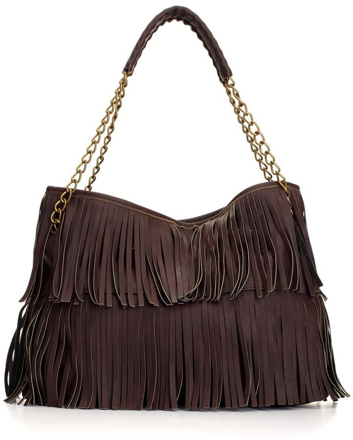 mstylelab Handbag, Faux Leather Fringe Chain Strap Shopper
