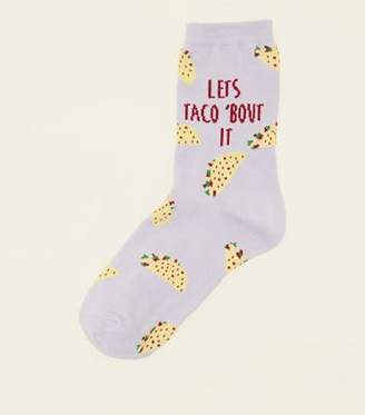 New Look Lilac Let's Taco Bout It Slogan Socks