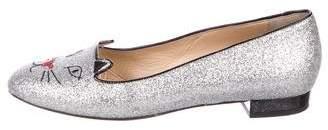 Charlotte Olympia Glitter Kitty Flats
