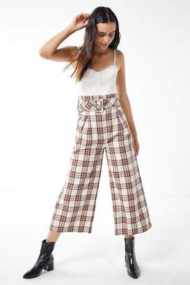 J.o.a. Plaid Belted Wide Leg Pant
