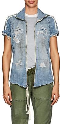 Greg Lauren Women's Distressed Denim Zip-Front Track Top