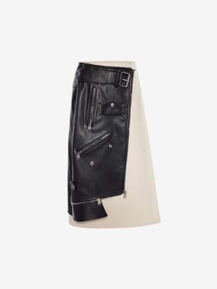 Alexander McQueen Leather Biker Skirt
