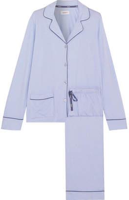 New Classic Striped Cotton-blend Jersey Pajamas - Light blue