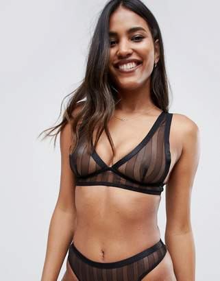 c6ff3b14f170a Asos Design DESIGN stripe lace soft longline bra