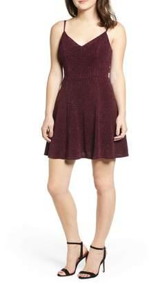 Love, Nickie Lew Glitter Knit Strappy Skater Dress