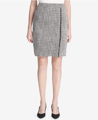 Calvin Klein Open Tweed Pencil Skirt