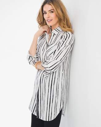 Chico's Striped Button Side Tie-Front Shirt