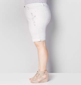 Avenue Embellished Denim Bermuda Short in White